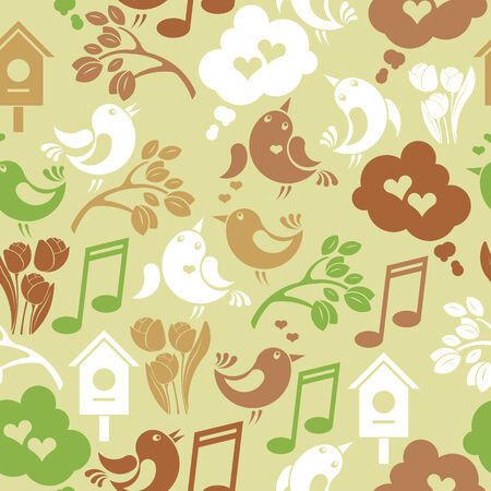Seamless vintage spring background with singing birds Vector