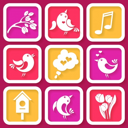 Set of 9 spring icons with birds and flowers  Vector