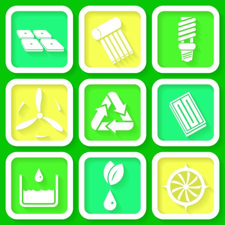 bombillo ahorrador: Conjunto de 9 iconos retro de las energías renovables