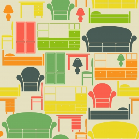Seamless vintage pattern with furniture elements Vector