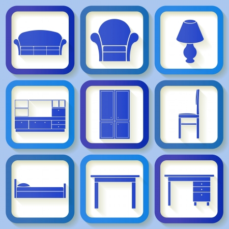 Set of 9 retro blue icons of house furniture  Eps10 Vector