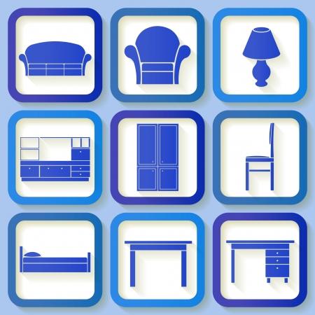 Set of 9 retro blue icons of house furniture  Eps10