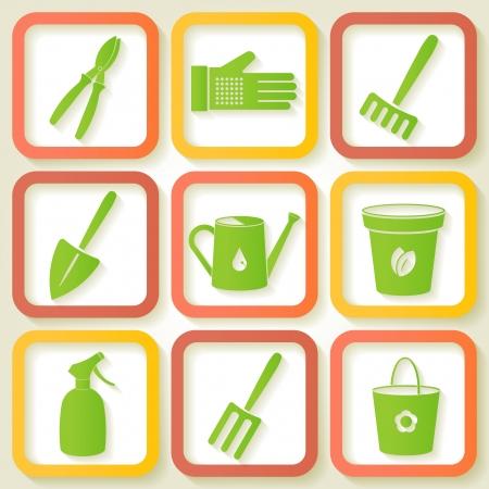 Set of 9 icon of garden instruments  Vector