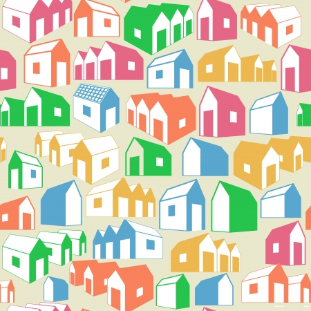 Seamless geometric background with houses Vector