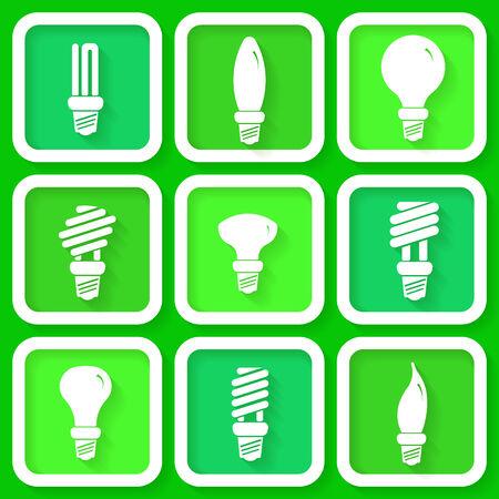 bombillo ahorrador: Conjunto de 9 iconos de l�mparas de bajo consumo Vectores