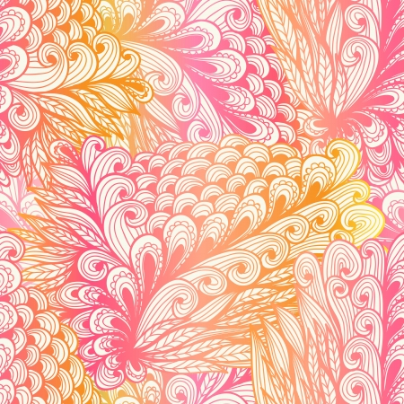 Seamless floral vintage pink gradient doodle pattern with spirals