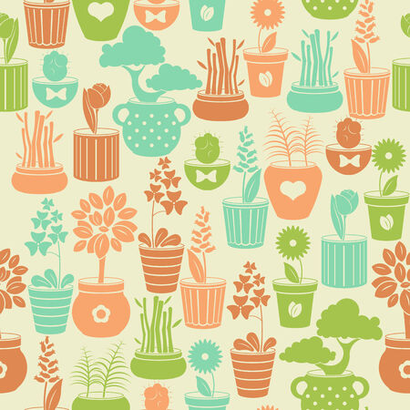 Seamless vintage pattern with flowers in pots Vector