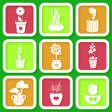 Set of 9 icons of different plants and flowers growing in pots  Vector