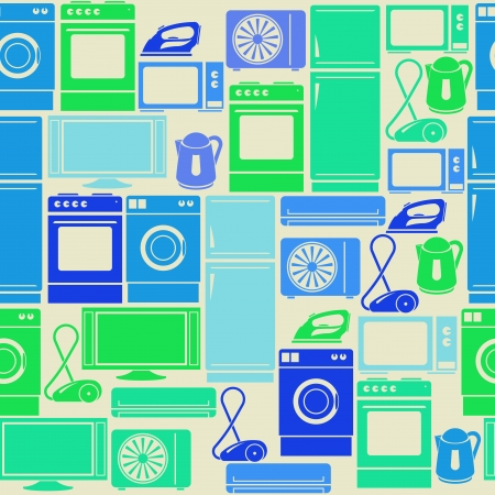 hoover: Seamless retro green pattern with domestic electric appliances