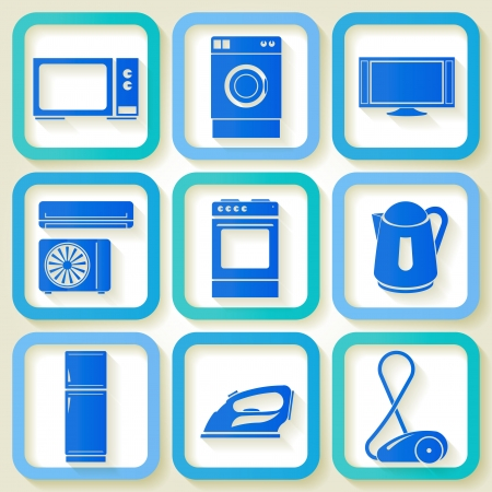 Set of 9 retro icons of domestic electric appliances   Illustration