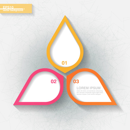 Infographic template with three pink and orange labels  Eps10 Vector