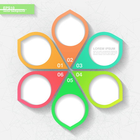 Infographic template with six colorful labels  Eps10 Vector