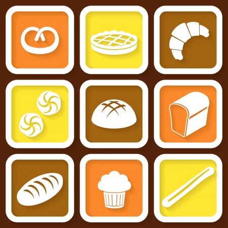 pain frais: Ensemble de 9 ic�nes r�tro de pain frais et de p�tisserie Eps10