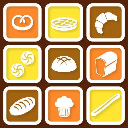 Set of 9 retro icons of fresh bread and pastry  Eps10 Vector