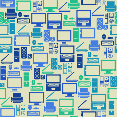 Seamless vintage pattern with computer elements Vector