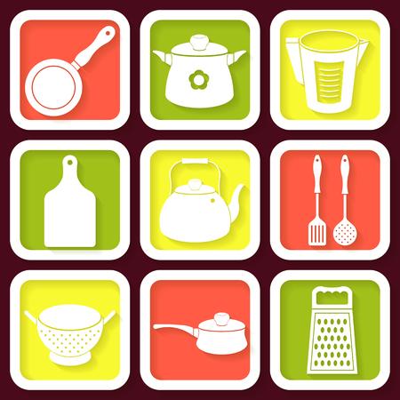 Set of 9 retro icons of kitchen utensils  Illustration
