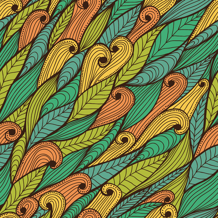 Seamless bright hand drawn ethnic floral pattern with leaves and swirls
