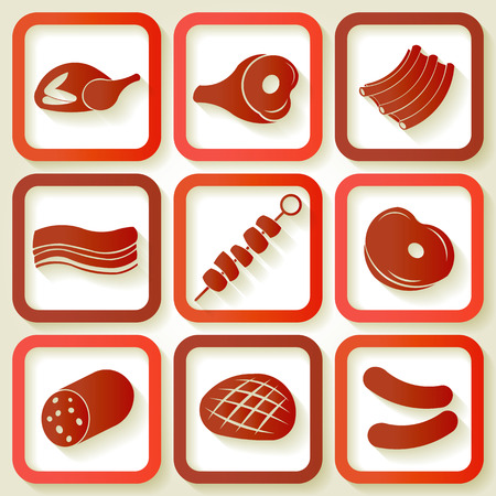 veal sausage: Set of 9 retro icons with meat pieces