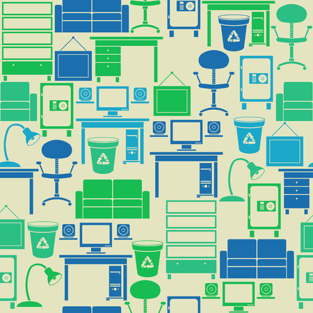 Seamless retro vintage pattern with office furniture Vector