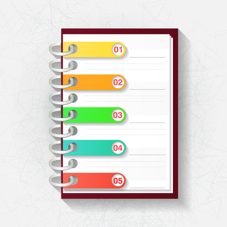 Infographic origami template  Notepad with five labels  Vector