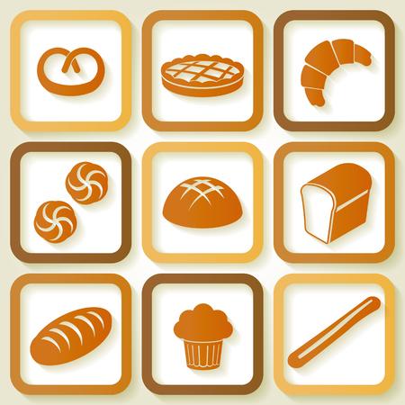 pain frais: Ensemble de 9 ic�nes r�tro de pain frais et de p�tisserie Illustration