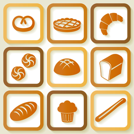 Set of 9 retro icons of fresh bread and pastry