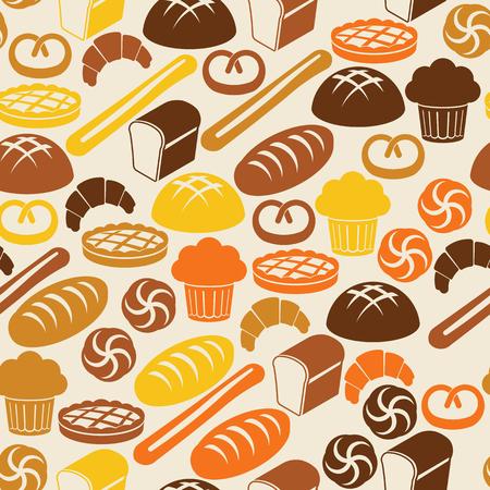 pain frais: Seamless r�tro avec du pain frais et des p�tisseries Illustration