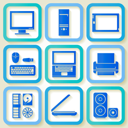 Set of 9 retro icons with computer elements   Vector
