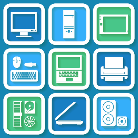 Set of 9 retro icons with computer elements  Illustration