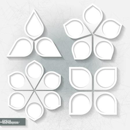 Set of infographic templates with three, four, five and six white paperl labels   Illustration