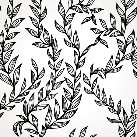 Seamless hand drawn black and white elegant floral background  Ilustrace