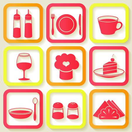 Set of 9 retro icons of kitchen utensils