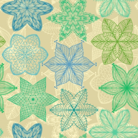 Seamless vintage green hand drawn pattern with ornate flowers