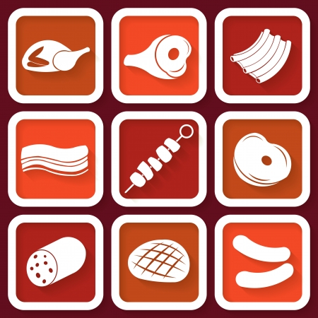 Set of 9 retro icons with meat pieces