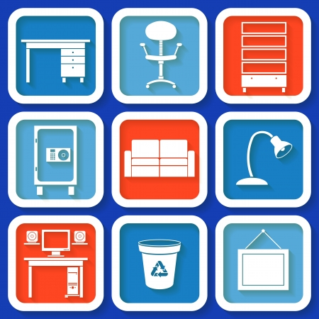 Set of 8 retro icons with office furniture