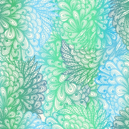 Seamless floral vintage  blue and green gradient cloudy pattern