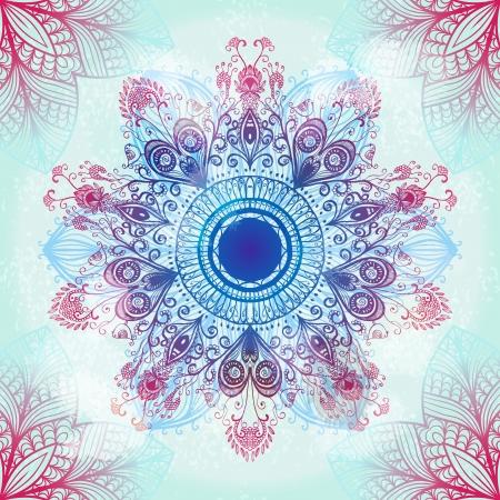 Hand drawn ethnic circular blue ornament