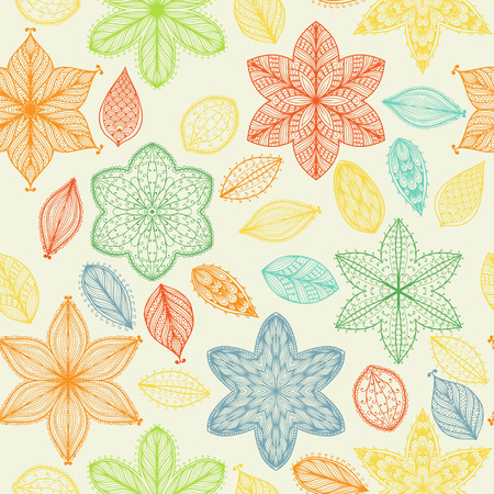 Seamless vintage spring hand drawn pattern with ornate flowers and leaves