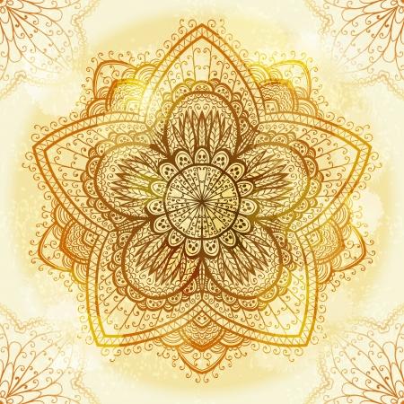 手描き民族円形ベージュ飾り  イラスト・ベクター素材