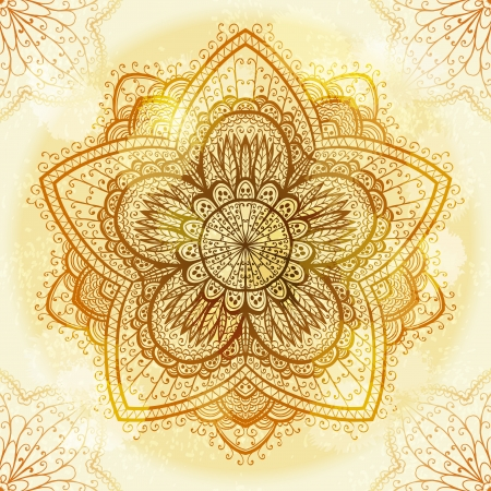 oriental: Hand drawn ethnic circular beige ornament