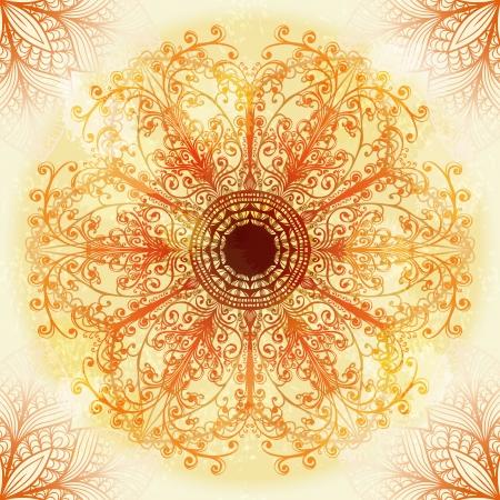 Hand drawn ethnic circular beige ornament  Eps10