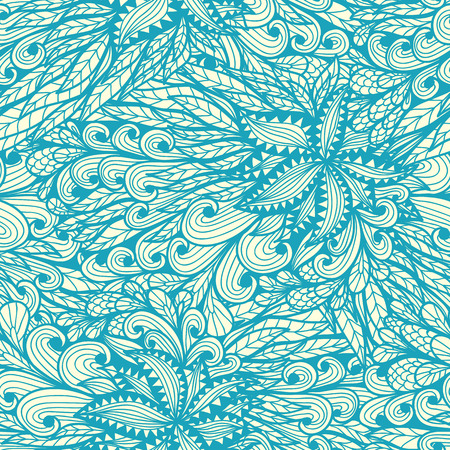 Seamless floral vintage blue doodle pattern with spirals and swirls Vector