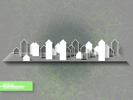 Abstract origami background with city silhouette  Eps10 Vector