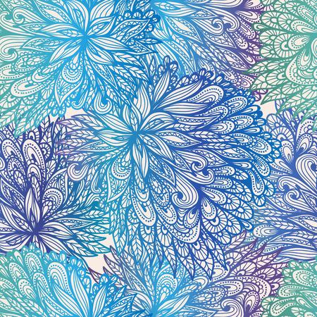 Seamless floral vintage blue gradient doodle pattern Vector