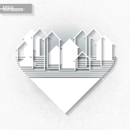 White infographic template with abstract city silhouette inscribed into heart shape  Eps10 Vector