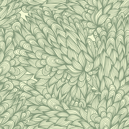 Seamless floral vintage blue doodle pattern with abstract nature elements