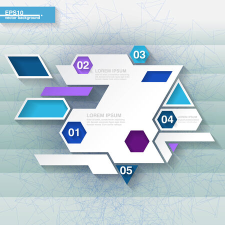 Blue and white geometrical abstract infographic template with hexagons  Eps10 Vector