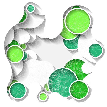 Bright three-dimensional abstract background with green circles  Eps10 Vector