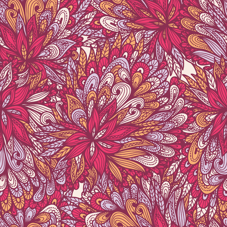 Seamless floral vintage bright hand drawn pink doodle pattern Vector