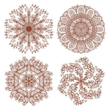 swirl: Set of four hand drawn ethnic circular mehandi ornaments